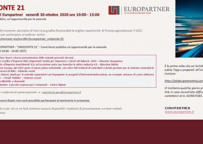 WEBINAR DI EUROPARTNER: ORIZZONTE 21 – Contributi pubblici, un'opportunità per le aziende