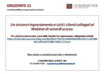 WEBINAR EUROPARTNER – RINGRAZIAMENTI E LINK PER RIVEDERE IL SEMINARIO