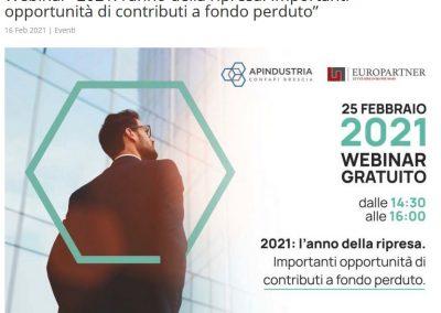 WEBINAR EUROPARTNER – APINDUSTRIA BRESCIA – 2021 ANNO DELLA RIPRESA